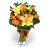 lilies, gerberas and orange roses