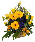 basket with yellow gerberas and tulips