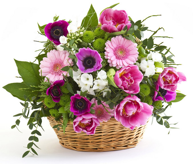 basket of roses and mixed flowers
