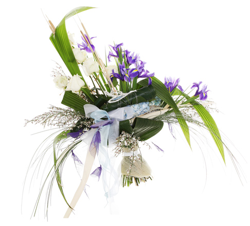 funeral bouquet white and blue