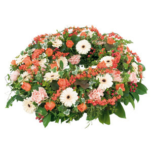 salmon funeral wreath