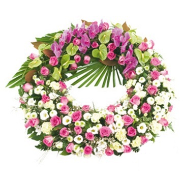 funeral wreath soft colors mixed flowers