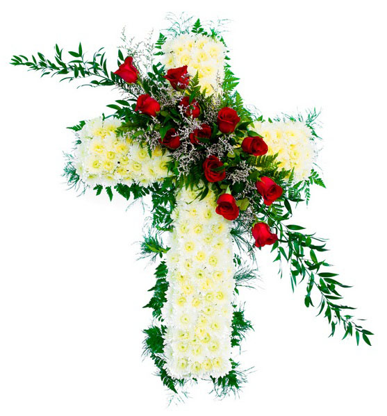 white funeral cross