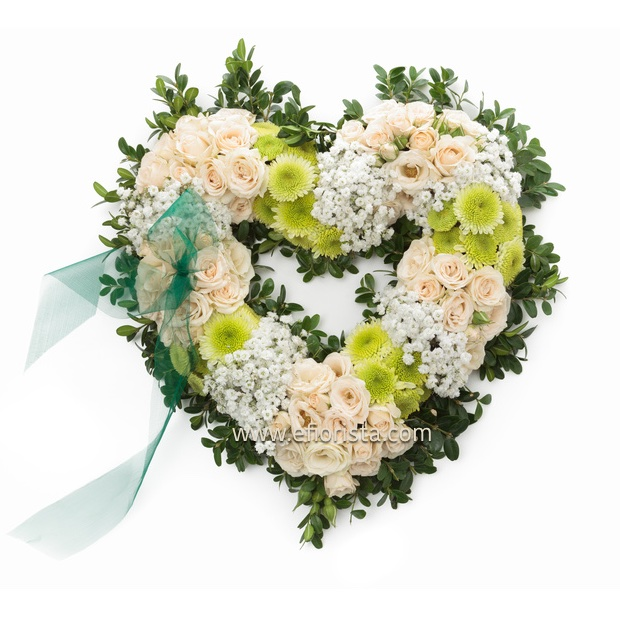 funeral heart of white flowers