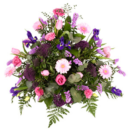 pink and violet funeral arrangement