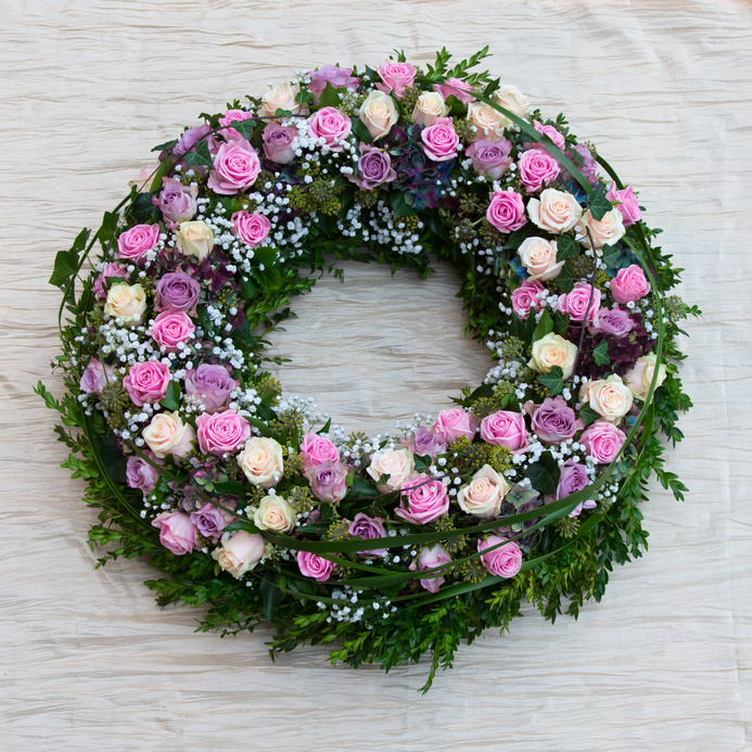 funeral wreath of pink roses