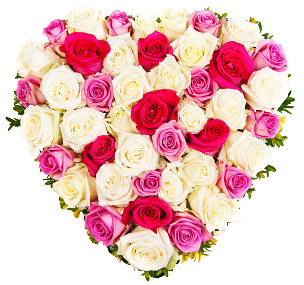 Send Arrangement Heart Shaped Of Mixed Roses Roses