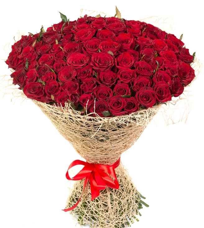 bunch of 100 red roses