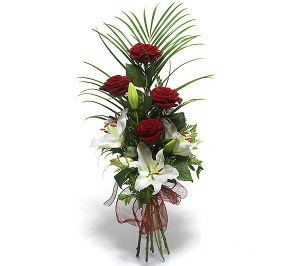 bouquet of white lilies and red roses