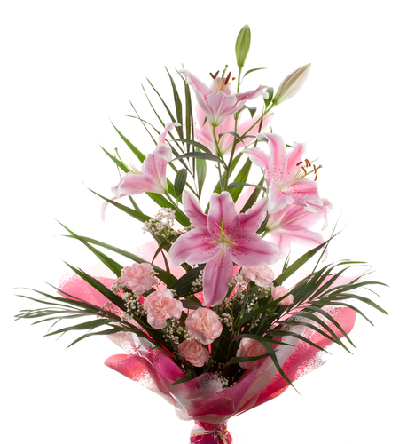 funeral bouquet of pink lilies