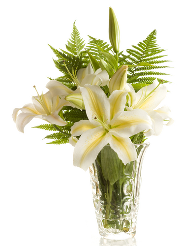 funeral bouquet of white lilies