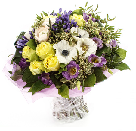 Funeral bouquet with yellow roses