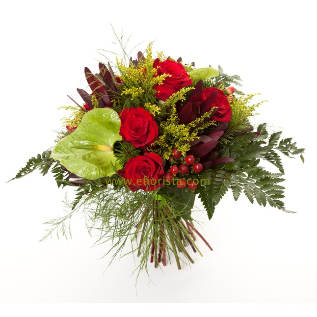 bouquet of anthurium, roses and greenery